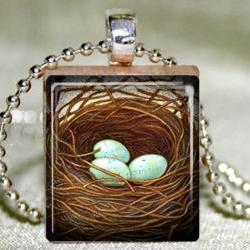 Bird Nest Scrabble Pendant with Necklace and Matching Gift Tin